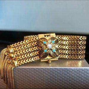 Victorian revival mesh slider bracelet 1950s